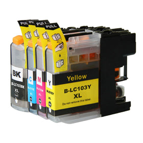 Brother LC 103XL New Compatible Inkjet Cartridges - Combo Pack of 4 (LC103 BK,C,M,Y)