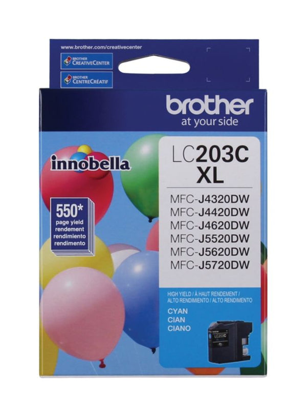 Original Brother LC203CS Cyan Ink Cartridge, High-Yield