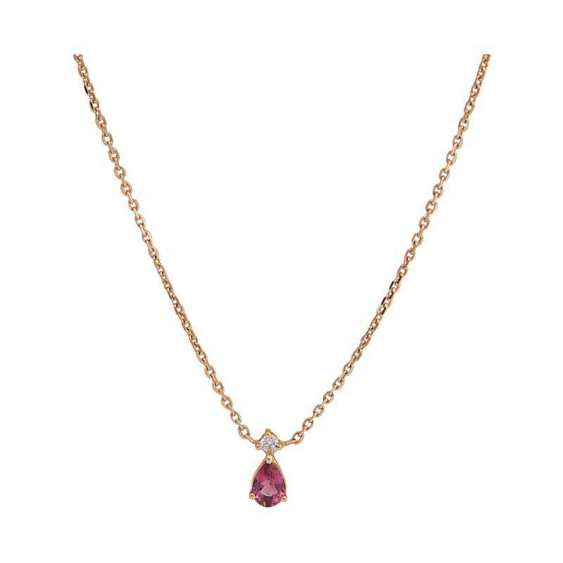 Collier Ginger Tourmaline Rose Cherry