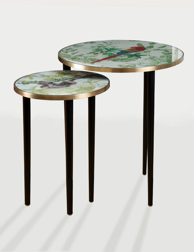 A nest of two side tables with animal images on their surface. Black legs with brass rim tabletop.
