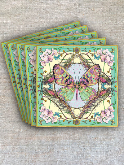A gift card showing butterfies and orchid in green and yellow