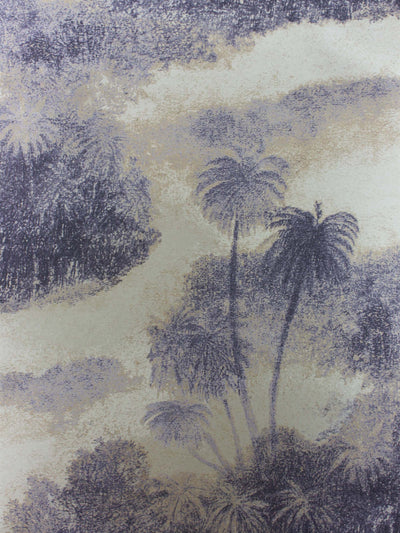 This wallpaper shows silhouettes of swaying island palms in two contrasting greys