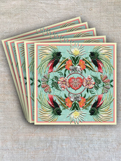The fanned feathers of tropical birds add a nature-inspired pattern and colour to this card