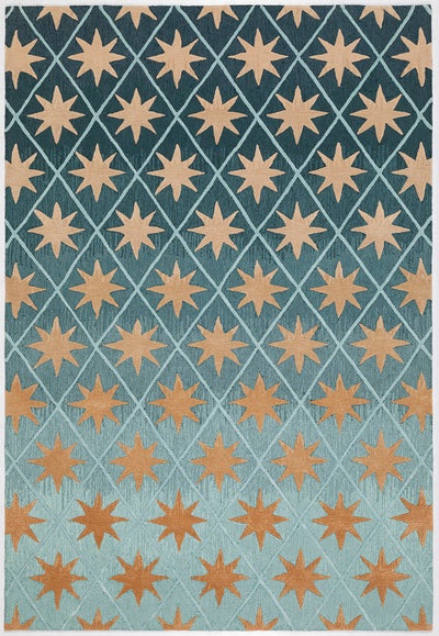Matthew Williamson Handmade Rug, star-like pattern in deep gold , jewel tones.