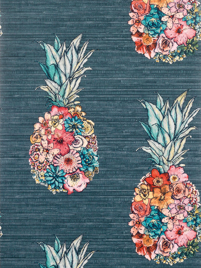 Stylised pineapples composed of flowers with colourful petals are set on a background resembling grass cloth.