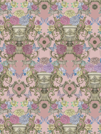 This wallpaper has hand-drawn scrolls, colourful flowers, plaster and aged stonework comingle in this decadent design inspired by the faded grandeur of stately homes and gardens.