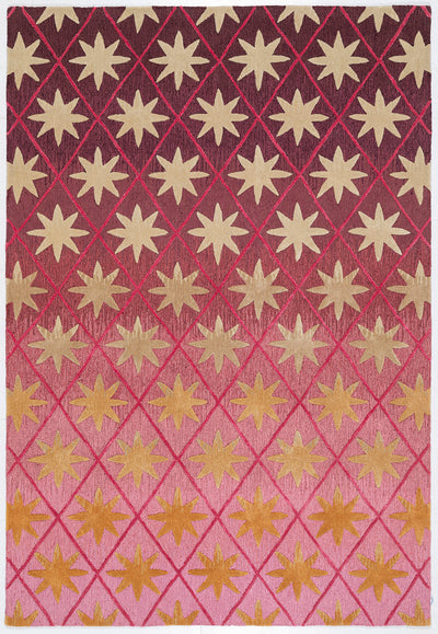 Matthew Williamson Atlas Rug, with gold star pattern with contracting red and pink ground.