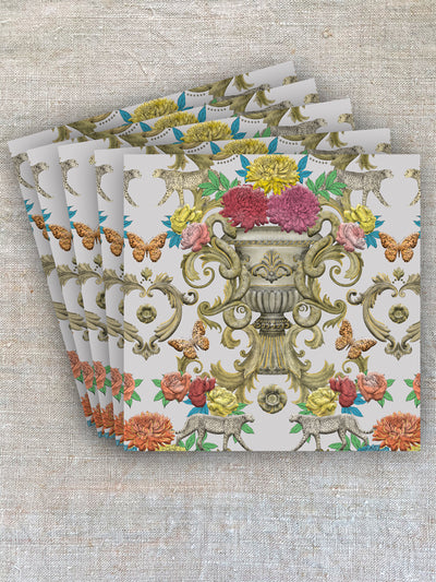 These greeting cards have hand-drawn scrolls, colourful flowers, plaster and aged stonework comingle in this decadent design inspired by the faded grandeur of stately homes and gardens.