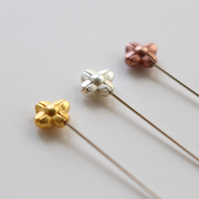 Sewing Pins with Flower in Gold, Silver and Bronze  (45-075)