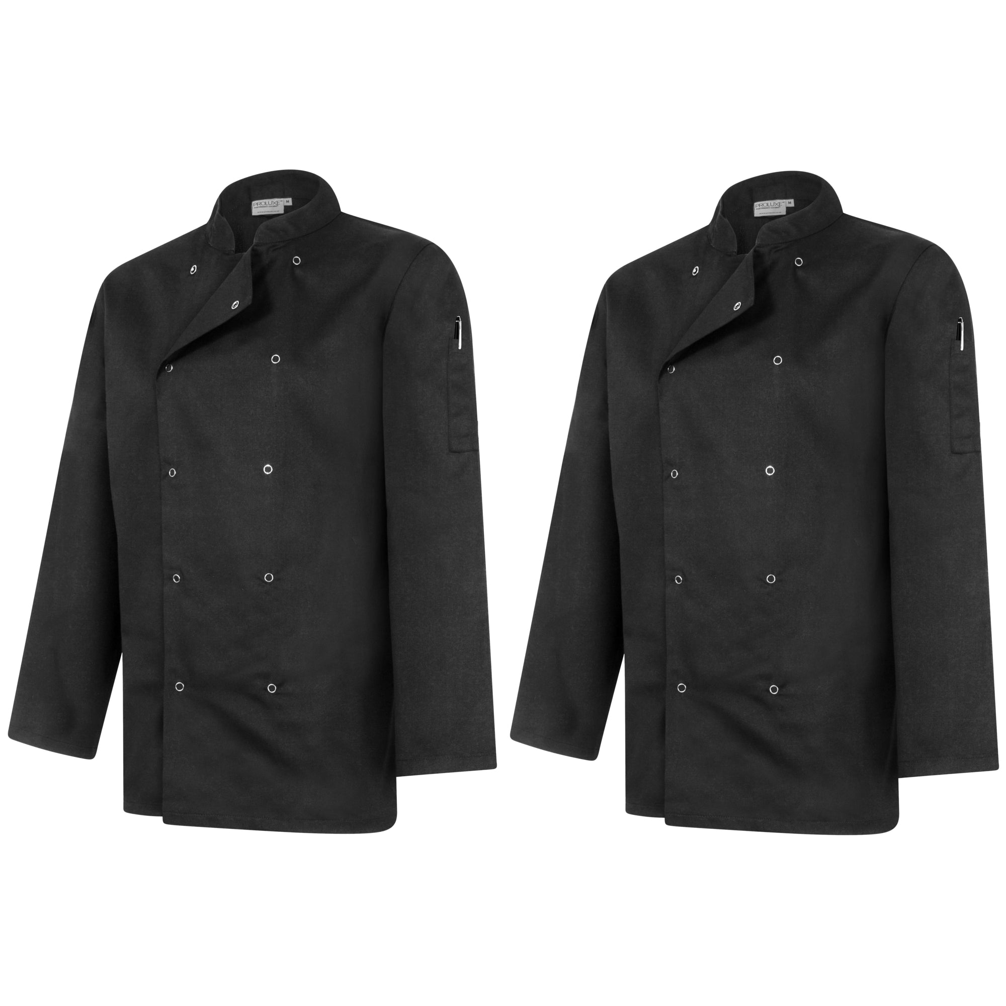 Twin Pack - Professional Chefs Jacket - Long Sleeve - Black