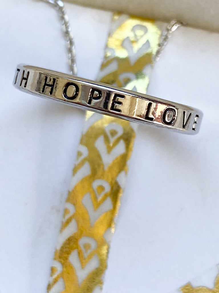 Faith Hope Love Hoop Necklace