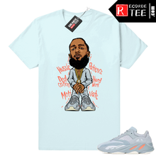 Load image into Gallery viewer, Inertia Yeezy 700 | Nipsey Hussle | Light Blue shirt
