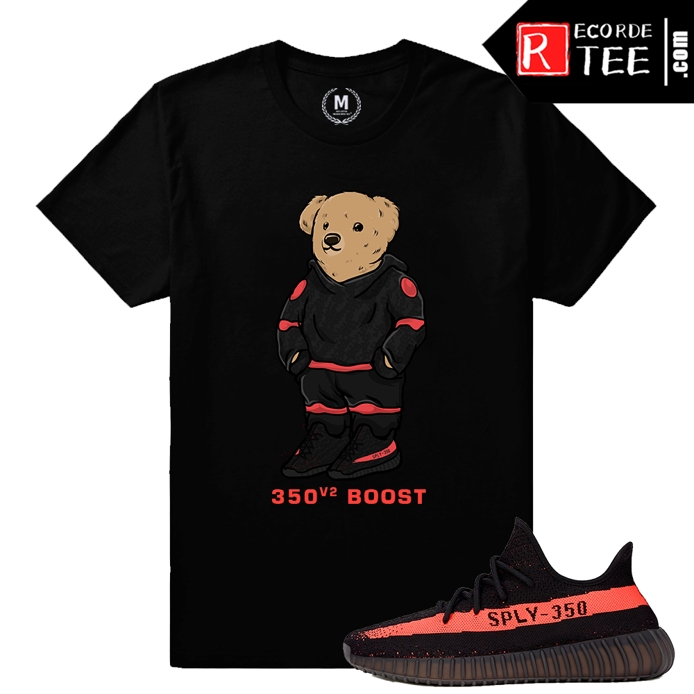 Yeezy Boost 350 V2 Black Red Match | 350 Boost Polo Bear | Black T shirt