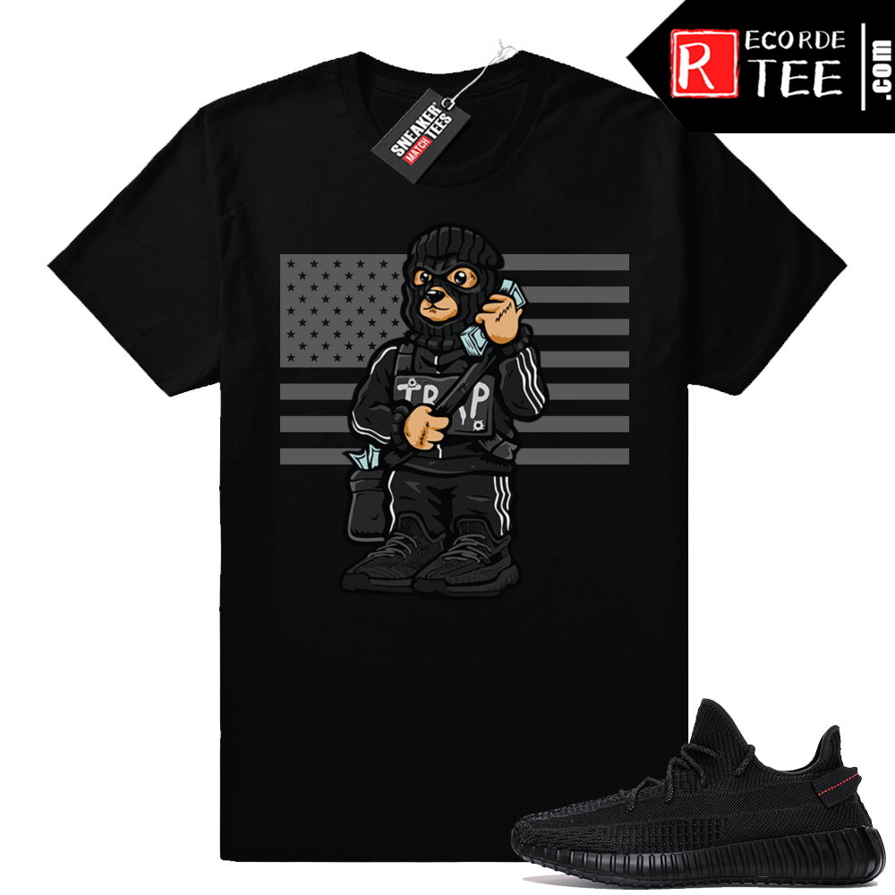 Yeezy Boost 350 V2 Black | Trap Bear Flag | Black Shirt