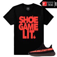 Load image into Gallery viewer, Yeezy Boost 350 V2 Black Red Match | Shoe Game Lit | Black T shirt