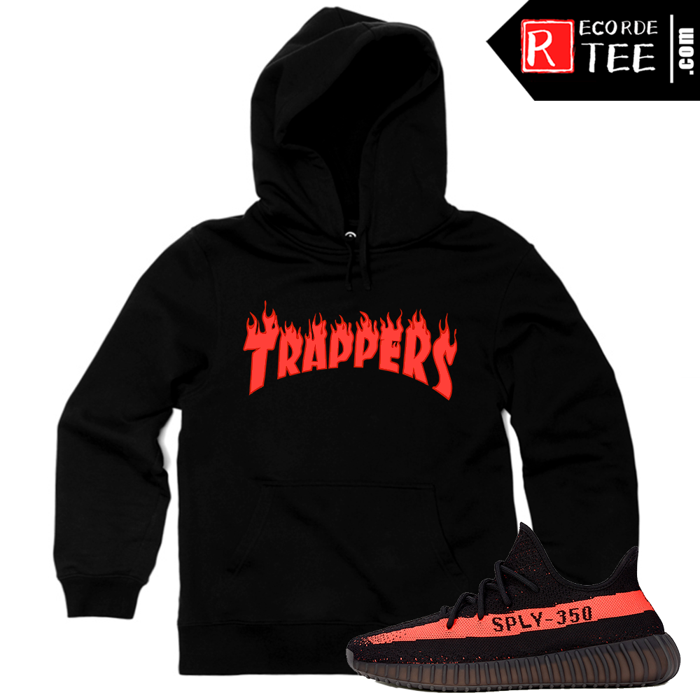 Yeezy Boost 350 V2 Black Red Match | Trappers Fire Logo | Black Hoodie