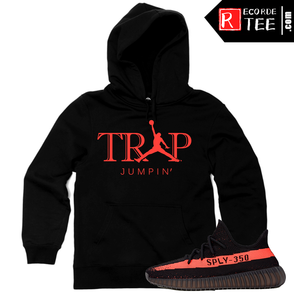 Yeezy Boost 350 V2 Black Red Match | Trap Jumpin | Black Hoodie