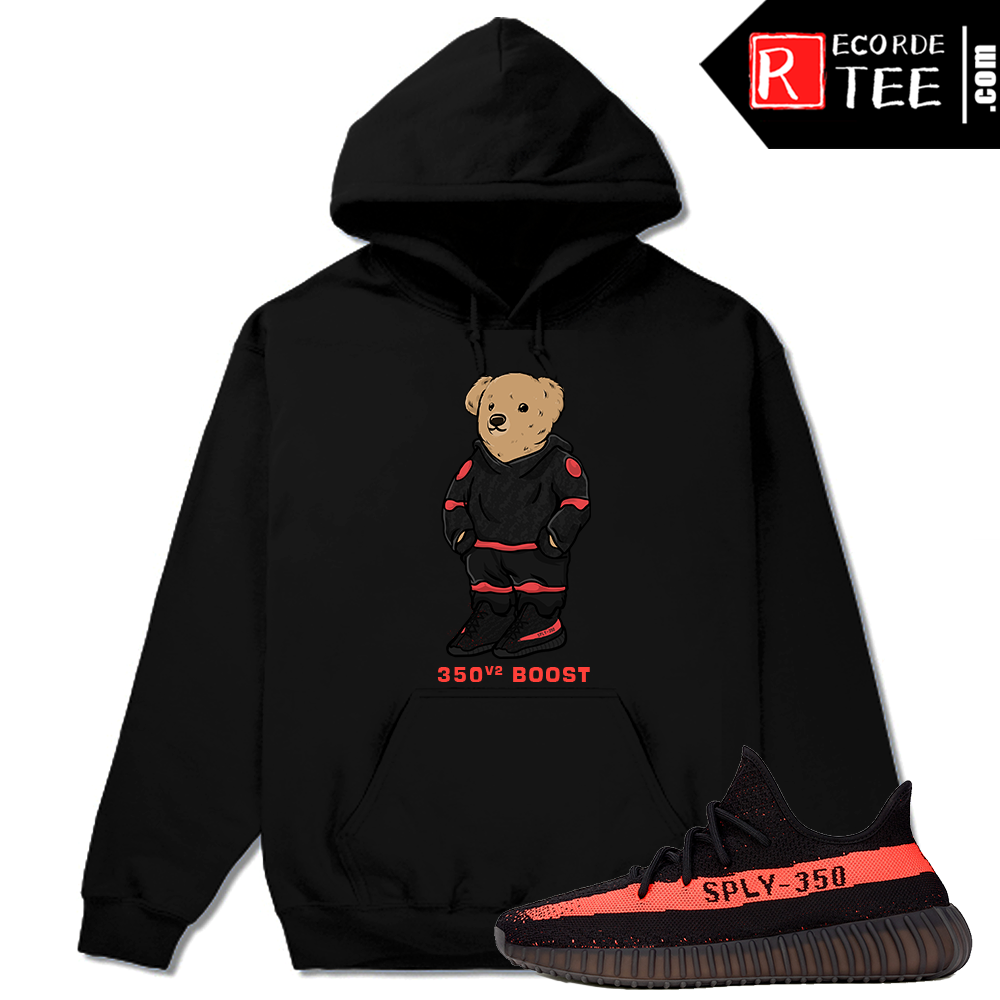 Yeezy Boost 350 V2 Black Red Match | 350 Boost Polo Bear | Black Hoodie