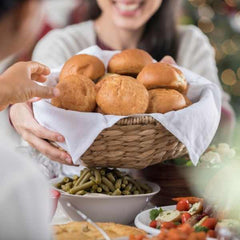 Bread being offered during Christmas dinner