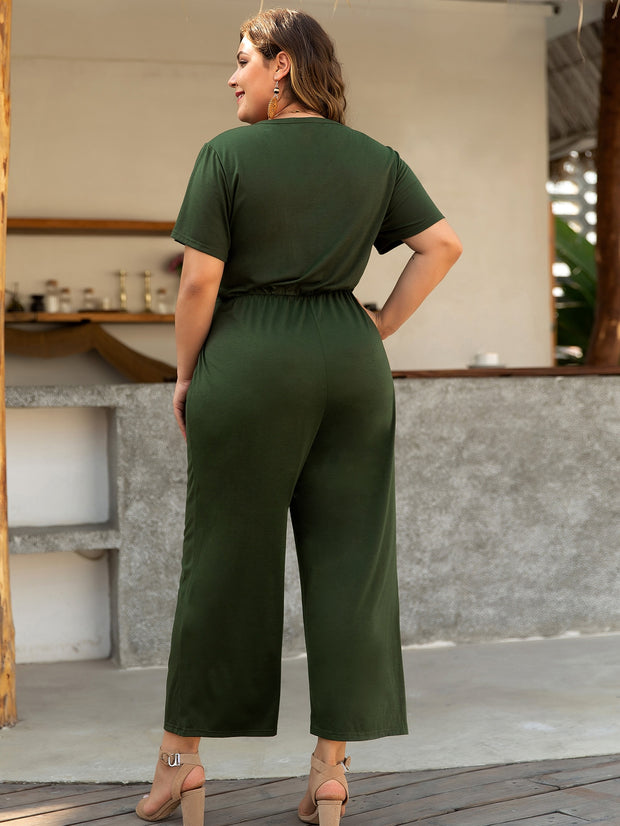 Tie Front Half Button Wide Leg Jumpsuit