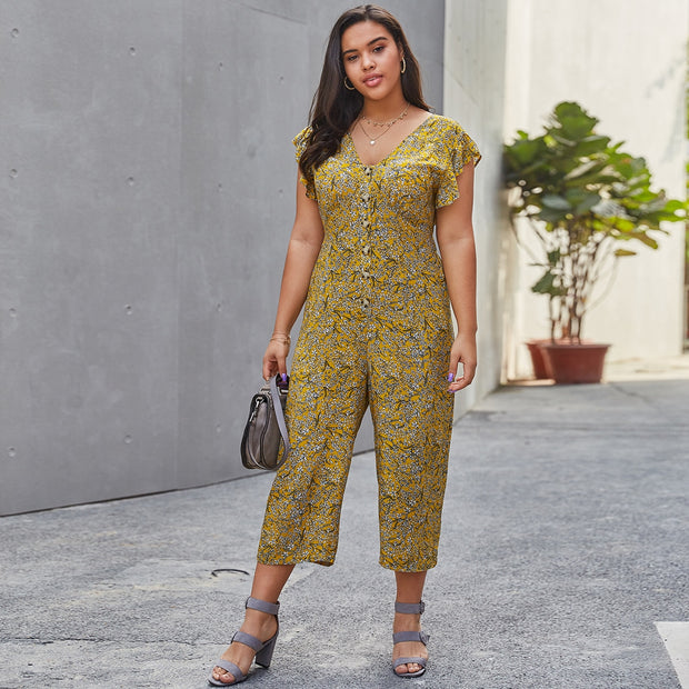 Ditsy Floral Button Front Jumpsuit