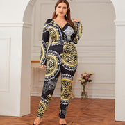 Tribal Print Surplice Neck Jumpsuit