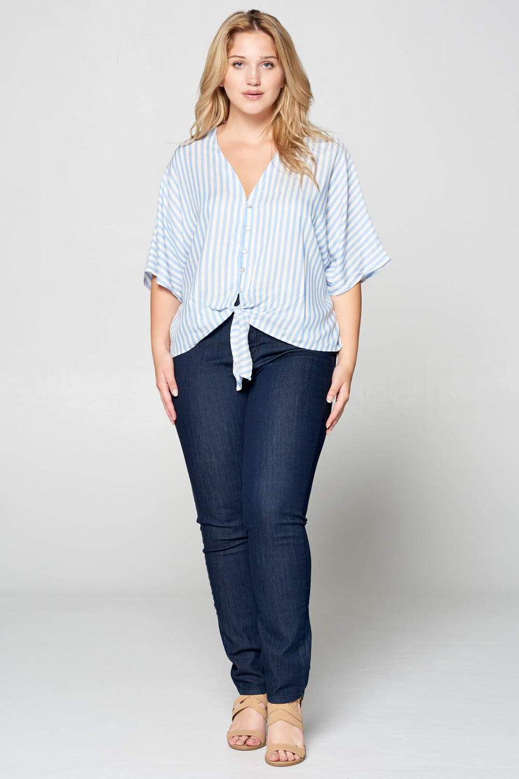 STRIPED FRONT TIE BUTTON DOWN TOP