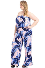 Tropical Print Tube Top Flowy  Jumpsuit