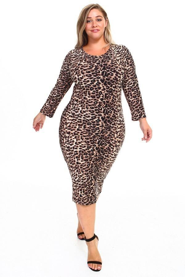Leopard Print Long Sleeve Midi Dress