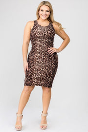 Leopard Print Sleeveless Plus Size Midi Dress