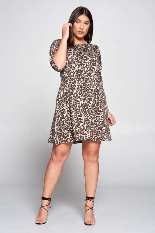 Taupe Leopard Swing Dress with Puff Sleeve