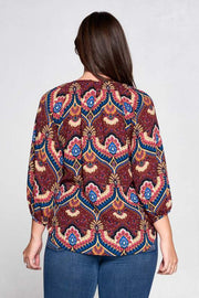 Burgundy Paisley V-neck Top