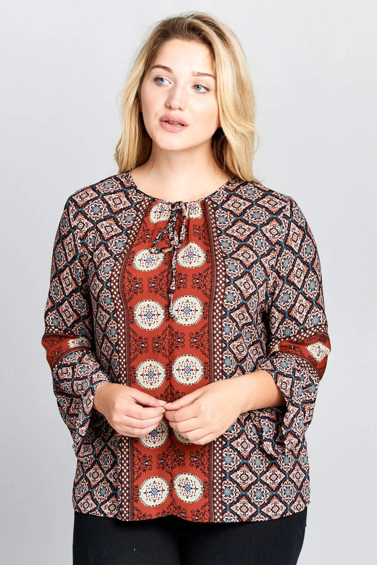 Boho Bell Sleeve Print Top  - Plus Size