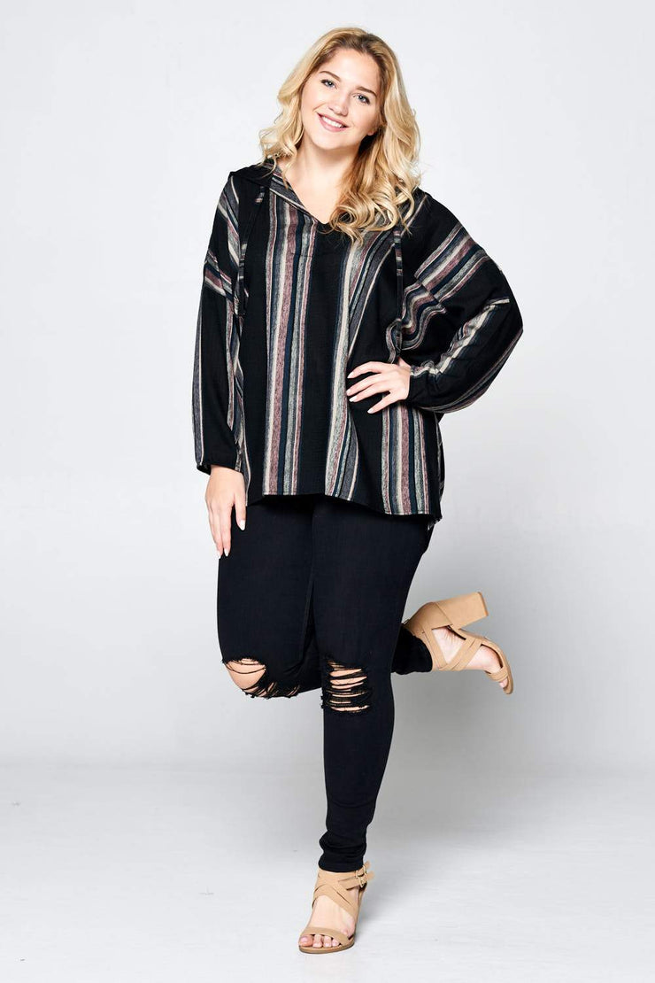 LONG SLEEVE STRIPED HOODED TOP - PLUS SIZE