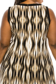 London Times Taupe Multi Abstract Printed A-Line Dress