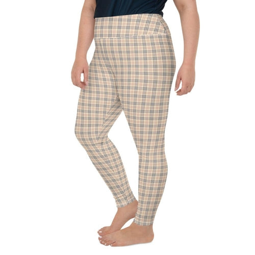 Beige Plaid Leggings