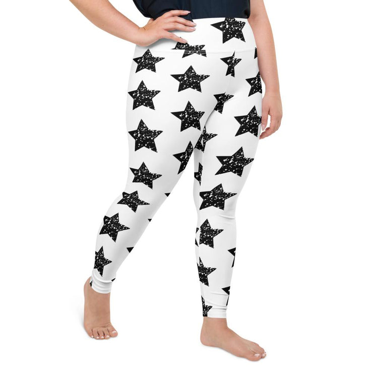 Black Star on White Leggings