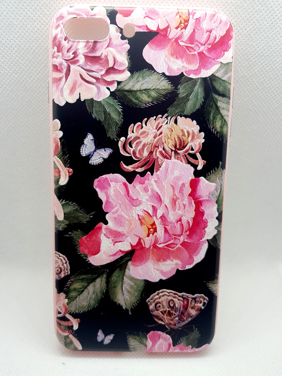 iPhone 7 plus/ 8 Plus hoesje achterkant bloemen backcover case