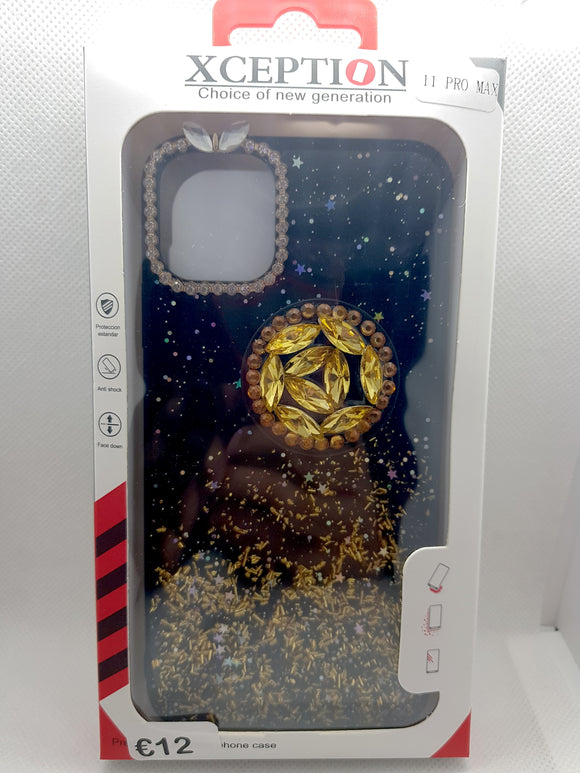 iPhone 11 Pro Max hoesje goud glitters met pop houder socket gold fashion case design