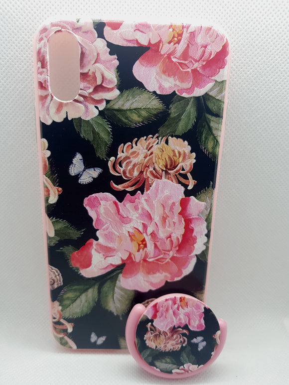 iPhone Xs Max hoesje achterkant bloemen fashion met popsocket backcover