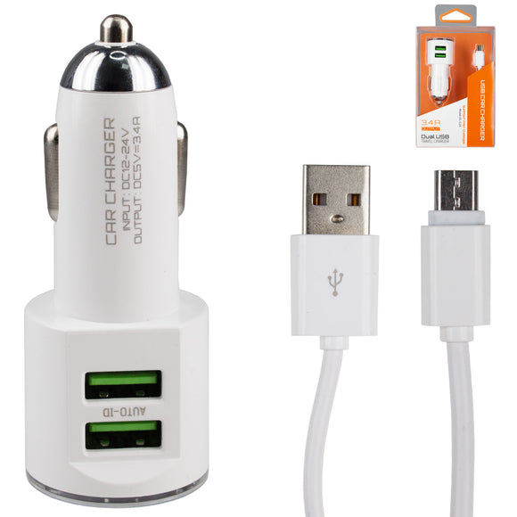 Autolader Oplaad Adapter incl. Micro USB Kabel - 2 USB Poorten - car charger