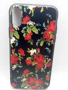 iPhone X / Xs hoesje achterkant rood blomen fashion design