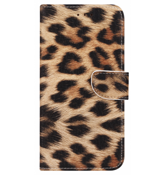 iPhone 12 Mini hoesje - Luipaard Design Print mapje- Wallet Case Leopard