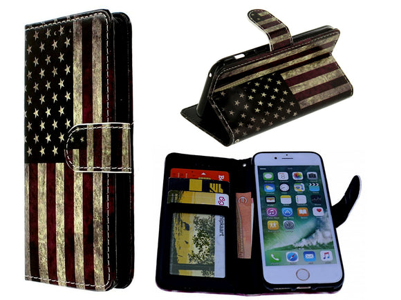 Samsung Galaxy A9 2018 hoesje USA flag print mapje- Wallet case America flag