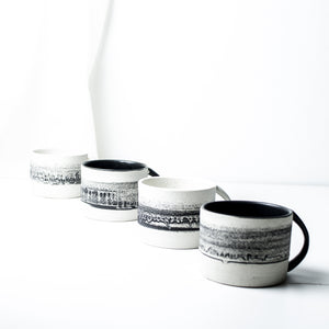 -Latte / Cappuccino Cup  l  Straight Edge  -Black Matt / Clear glaze on white porcelain clay -Straight edged, low and wide opening with lip to bottom arch handle -Modern simple shape + natural texture *Basalt Collection - Drawing of mixture of dark minerals. The unique organic drawing is applied in a rotation of my wheel.