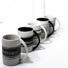Load image into Gallery viewer, -Americano / Dripped Coffee Cup l Straight Edge -Straight Edge, slim body with lip to bottom, full arch handle -Modern simple shape + natural texture *Basalt Collection Drawing of mixture of dark minerals. The unique organic drawing is applied in a rotation motion of my wheel.