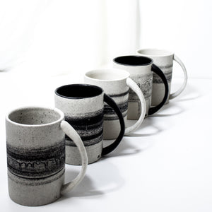 -Americano / Dripped Coffee Cup l Straight Edge -Straight Edge, slim body with lip to bottom, full arch handle -Modern simple shape + natural texture *Basalt Collection Drawing of mixture of dark minerals. The unique organic drawing is applied in a rotation motion of my wheel.