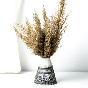 -Cone Shape Vases in 3 sizes l Home / Office / Cafe Deco -Clear glaze on white porcelain clay -Modern simple shape + natural texture *Basalt Collection Drawing of mixture of dark minerals. The unique organic drawing is applied in a rotation motion of my wheel.