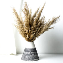 Load image into Gallery viewer, -Cone Shape Vases in 3 sizes l Home / Office / Cafe Deco -Clear glaze on white porcelain clay -Modern simple shape + natural texture *Basalt Collection Drawing of mixture of dark minerals. The unique organic drawing is applied in a rotation motion of my wheel.