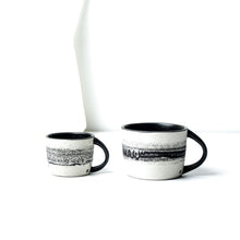 Load image into Gallery viewer, -Espresso Coffee Cup -Clear glaze on white porcelain clay -Slight angle toward opening with lip to foot, full arch handle -Modern simple shape + natural texture *Basalt Collection Drawing of mixture of dark minerals. The unique organic drawing is applied in a rotation motion of my wheel.